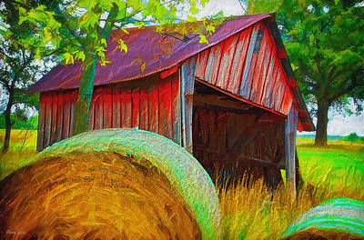Abandoned Red Barn With Hay Rolls Poster by Anna Louise