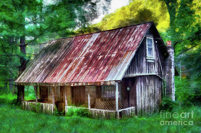 Poster featuring the photograph Abandoned Vintage House In The Woods Ap by Dan Carmichael