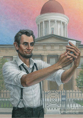 Poster featuring the painting Abe's 1st Selfie by Jane Bucci