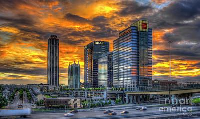 Ablaze Reflections Atlanta Midtown Sunset Art Poster by Reid Callaway