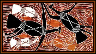 Aboriginal Birds Poster by Vagabond Folk Art - Virginia Vivier