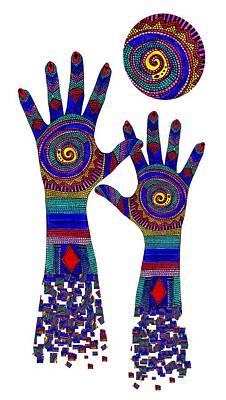 Aboriginal Hands Blue Transparent Background Poster by Barbara St Jean