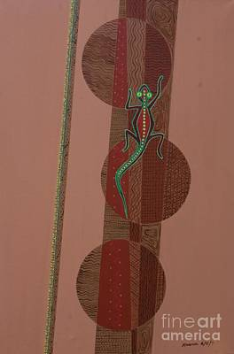 Aboriginal Lizard Poster by Kaaria Mucherera