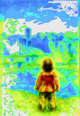 Above The Clouds - A Fantasy Artwork With A Girl Looking Towards Something Mysterious Poster by Alexandra Cook