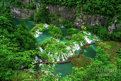 Above The Paths And Waterfalls At Plitvice Lakes National Park, Croatia Poster