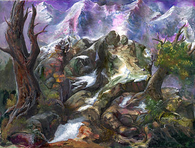 Poster featuring the painting Above The Timberline by Sherry Shipley