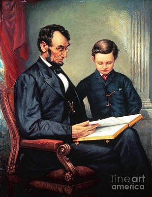 Abraham Lincoln & Son Tad Poster by Granger