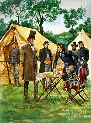 Abraham Lincoln Plans His Campaign During The American Civil War  Poster by Peter Jackson