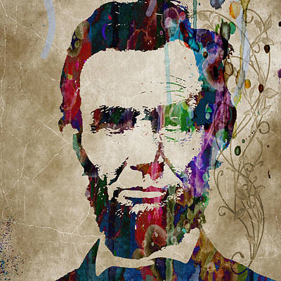 Abraham Lincoln Watercolor Modern Abstract Pop Art Color Poster