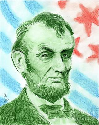 Poster featuring the drawing Abraham Lincoln  by Yoshiko Mishina