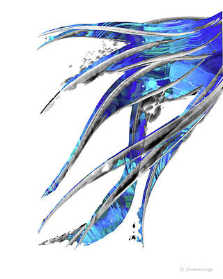 Abstract Art Blue And White - Flowing 5 - Sharon Cummings Poster
