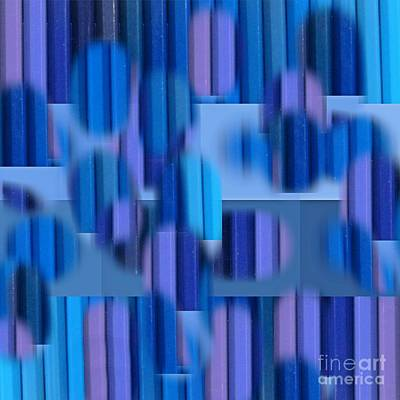 Abstract Art In Cool Blues With Purple Accents Poster