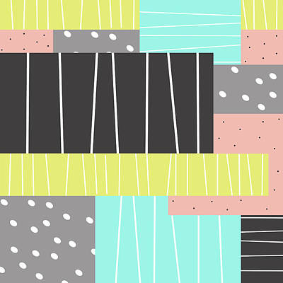 Abstract Art Stripes And Dots Poster