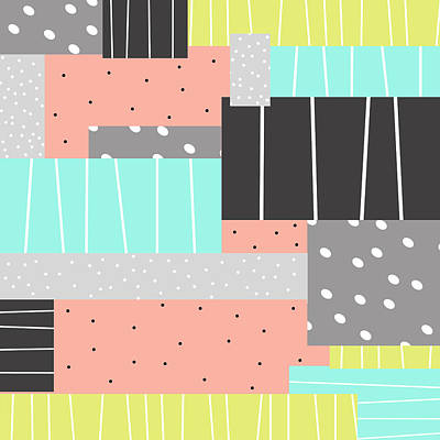 Abstract Art Stripes And Dots Two Poster
