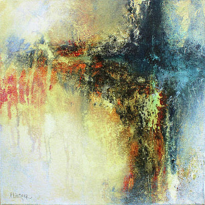Teals And Warm Tones Abstract Painting Poster by Patricia Lintner