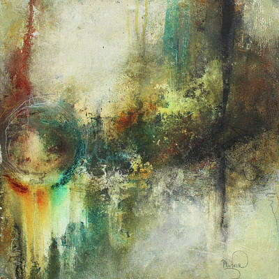 Abstract Art With Blue Green And Warm Tones Poster