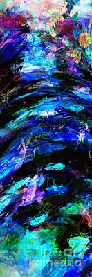 Poster featuring the painting Abstract Blue Symphony Tall No1 by Ginette Callaway