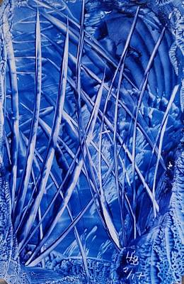 Abstract Blues Encaustic Poster