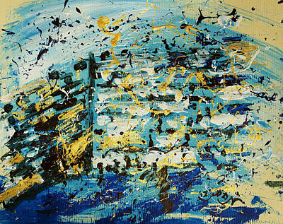 Abstract Contemporary Western Wall Kotel Prayer Painting With Splatters In Blue Gold Black Yellow Poster by M Zimmerman
