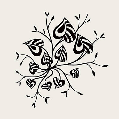 Abstract Floral With Pointy Leaves In Black And White Poster