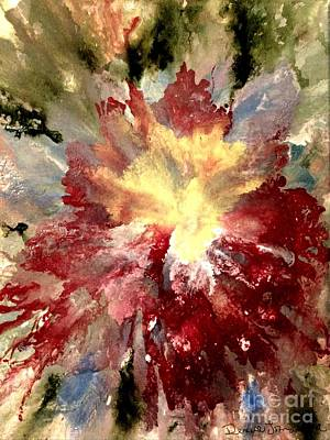Poster featuring the painting Abstract Flower by Denise Tomasura