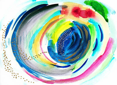 Abstract Galaxy In Watercolor Poster