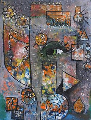 Poster featuring the painting Abstract Ganesha  by Prerna Poojara