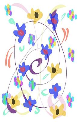 Poster featuring the digital art Abstract Garden Nr 7 Naif Style by Bee-Bee Deigner
