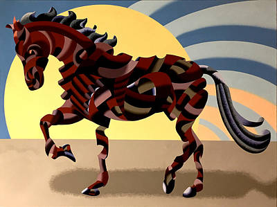 Poster featuring the painting Abstract Geometric Futurist Horse by Mark Webster