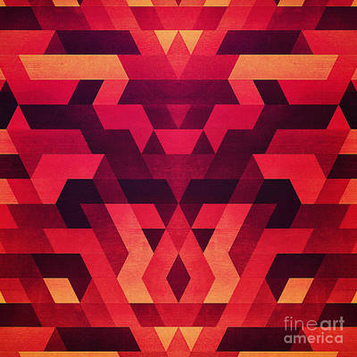 Abstract  Geometric Triangle Texture Pattern Design In Diabolic Future Red Poster