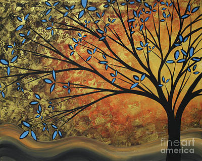 Abstract Golden Landscape Art Original Painting Peaceful Awakening II Diptych Set By Megan Duncanson Poster by Megan Duncanson