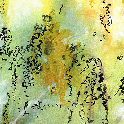 Poster featuring the painting Abstract Green And Yellow  by Ginette Callaway