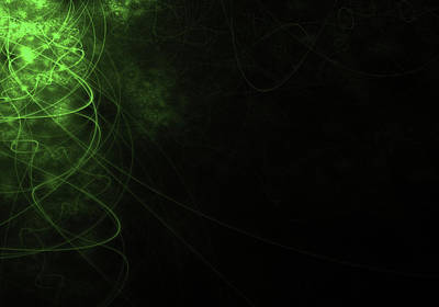 Abstract Green Background With Wavy Lines Poster