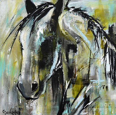 Poster featuring the painting Abstract Green Horse by Cher Devereaux