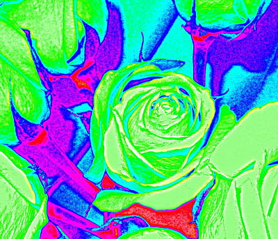 Abstract Green Roses Poster