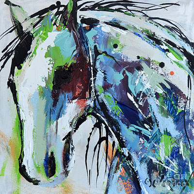 Poster featuring the painting Abstract Horse 18 by Cher Devereaux