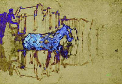 Abstract Horse And Buggy Poster