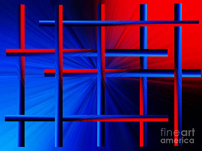 Abstract In Red/blue 3 Poster