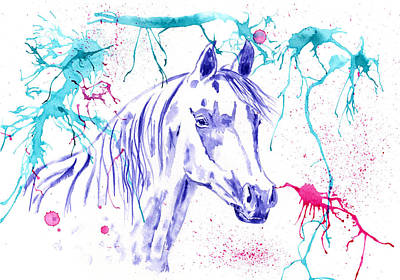 Abstract Ink - Purple Arabian Horse Poster by Michelle Wrighton