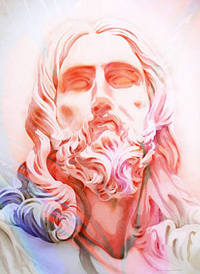 Poster featuring the painting Abstract Jesus 1 by J- J- Espinoza