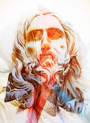 Poster featuring the painting Abstract Jesus 2 by J- J- Espinoza