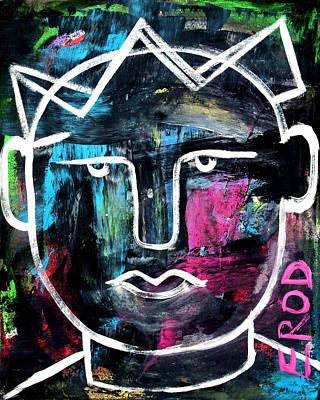 Abstract King - Original Robert Erod Art Poster by Robert R Splashy Art Abstract Paintings