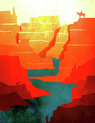 Abstract Landscape Canyon Art 1 - By  Diana Van Poster