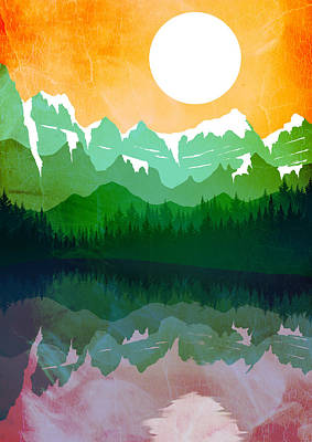 Abstract Landscape Lake Tahoe 2 Poster by Diana Van