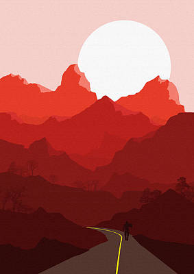 Abstract Landscape Mountain Road Art 4 - By Diana Van Poster