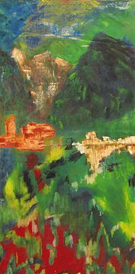 Poster featuring the painting Abstract Landscape by Patricia Cleasby
