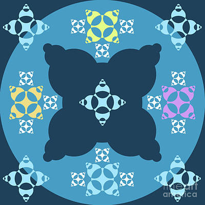 Abstract Mandala Blue, Dark Blue And Cyan Pattern For Home Decoration Poster