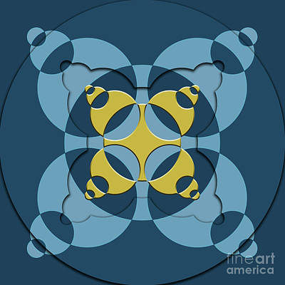 Abstract Mandala Blue, Dark Blue And Green Pattern For Home Decoration Poster