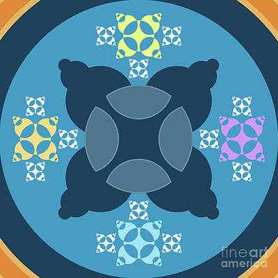 Abstract Mandala Blue, Orange And Cyan Pattern For Home Decoration Poster