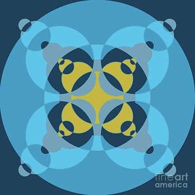 Abstract Mandala Cyan, Dark Blue And Yellow Pattern For Home Decoration Poster